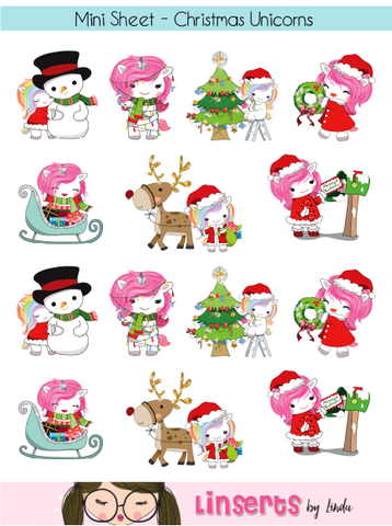 Mini Sticker Sheet  - Christmas Unicorns