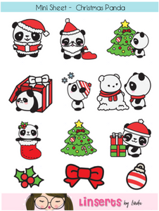 Mini Sticker Sheet  - Christmas Panda