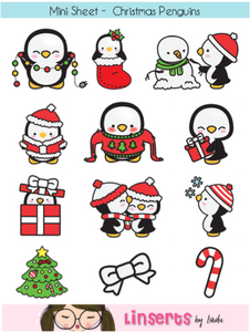 Mini Sticker Sheet  - Christmas Penguins