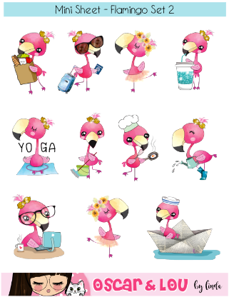 Mini Sticker Sheet  - Flamingo Set 2