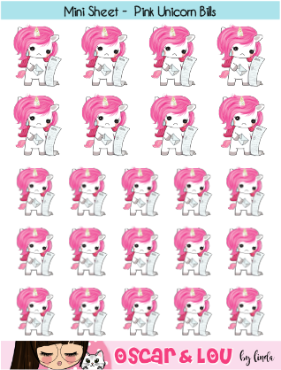 Mini Sticker Sheet  - Pink Unicorns Bills