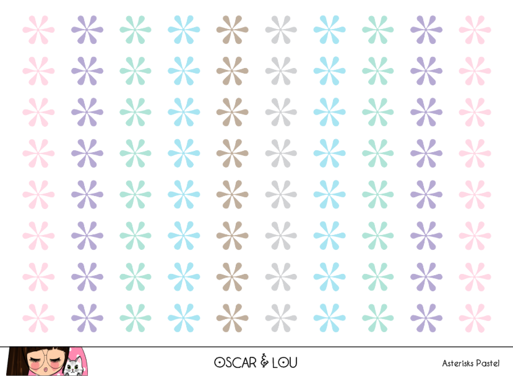 Mini Sticker Sheet  - Asterisks (Pastel)