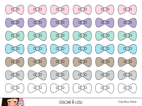 Mini Sticker Sheet  - Cute Bows (Pastel)