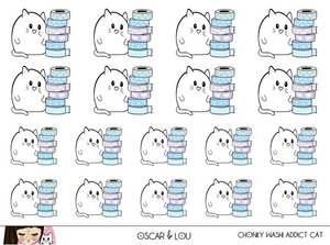 Mini Sticker Sheet  - Chonky Washi Addict Cat