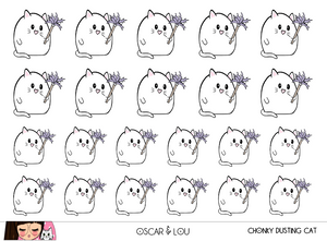 Mini Sticker Sheet  - Chonky Dusting Cat