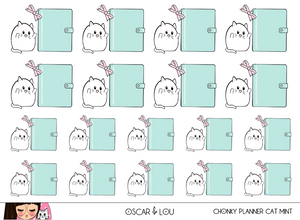 Mini Sticker Sheet  - Chonky Planner Cat (Mint)