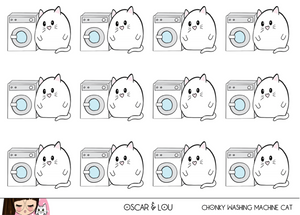 Mini Sticker Sheet  - Chonky Washing Machine Cat