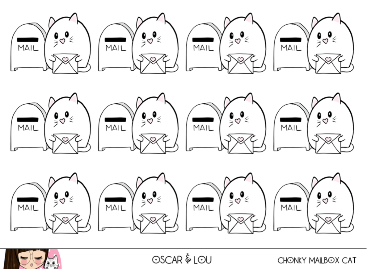 Mini Sticker Sheet  - Chonky Mailbox Cat