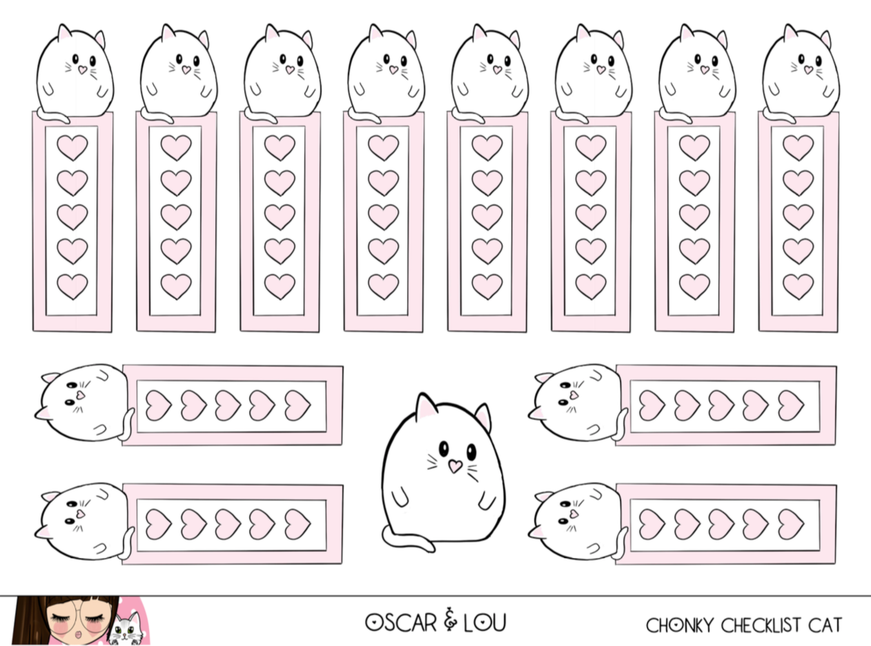 Mini Sticker Sheet  - Chonky Pink Checklist Cat