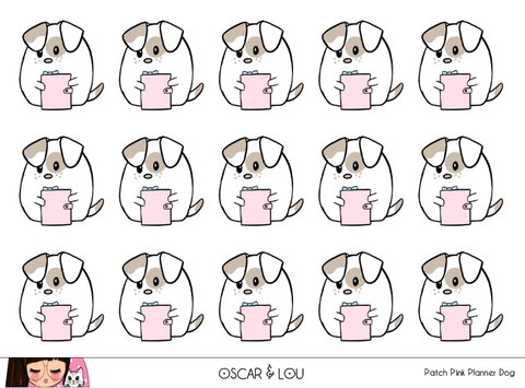 Mini Sticker Sheet  - Patch Pink Planner Dog