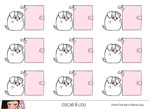 Mini Sticker Sheet  - Patch Pink Bone Planner Dog