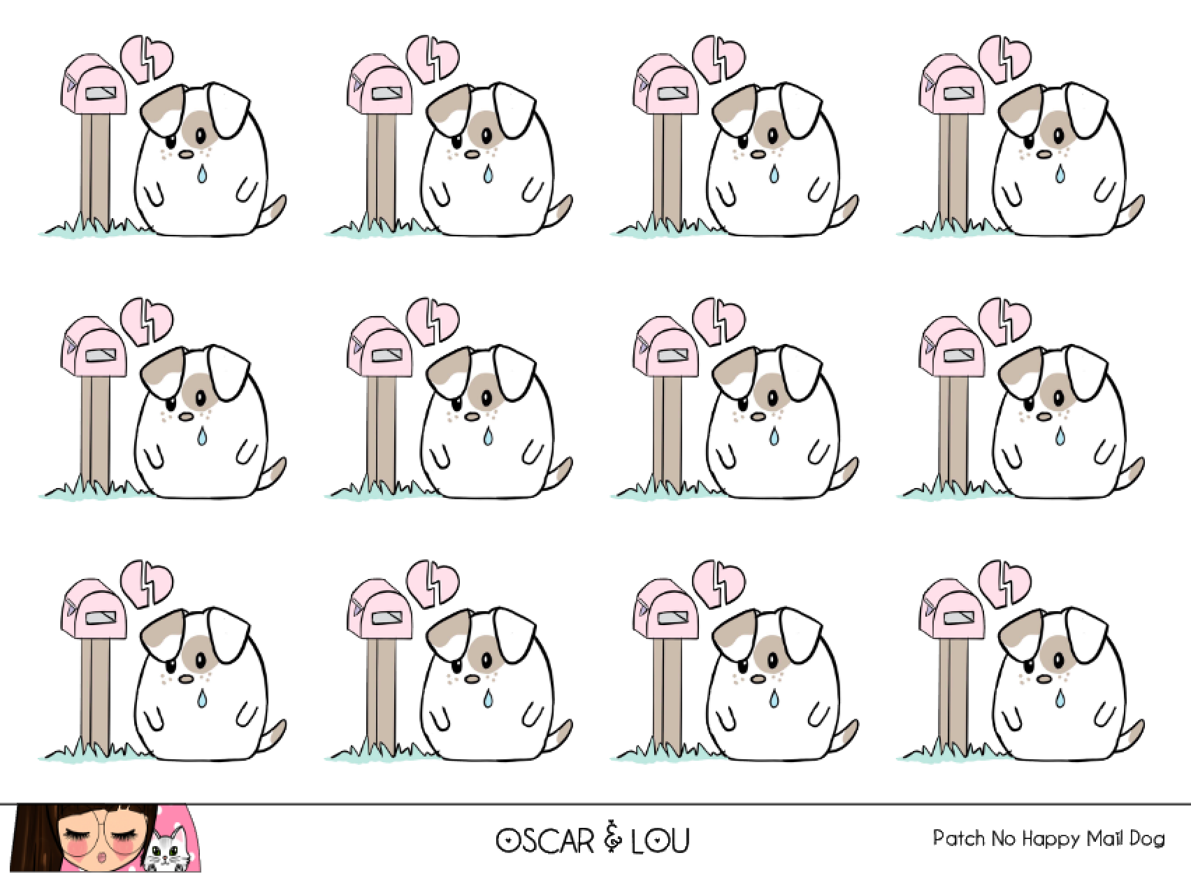 Mini Sticker Sheet  - Patch NO Happy Mail Dog