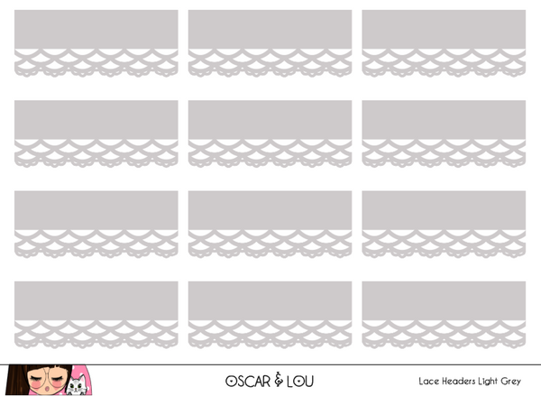 Mini Sticker Sheet  - Lace Headers