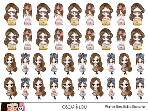 Mini Sticker Sheet  - Planner Boss Babe (Brunette)