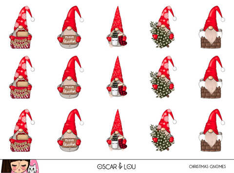 Mini Sticker Sheet  - Christmas Gnomes