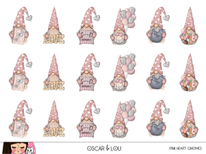 Mini Sticker Sheet  - Pink Heart Gnomes