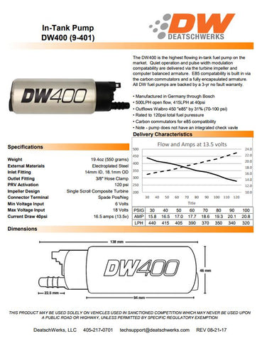 DW400 HIGH VOLUME 415LPH UNIVERSAL FUEL PUMP
