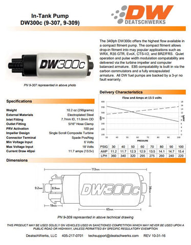 DW300C HIGH VOLUME 340 LPH DIRECT FIT PUMP