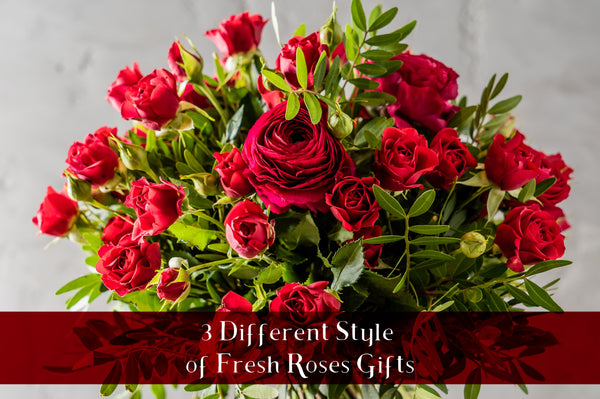 3 Different Styles of Fresh Rose Gifts