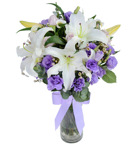 White Lilies & Eustoma with Vase