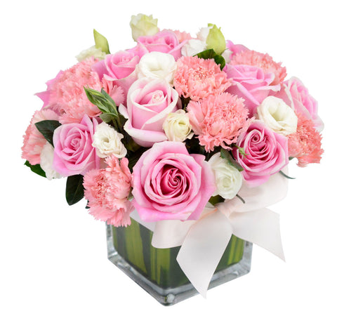 Classic Peace Pink Roses with Vase for Valentine's Day