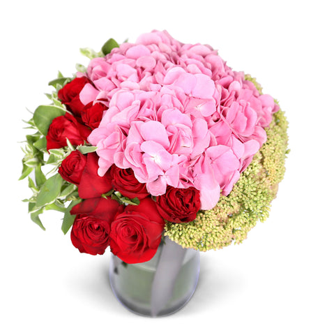 Mix of Red Roses & Pink Hydrangea in Vase