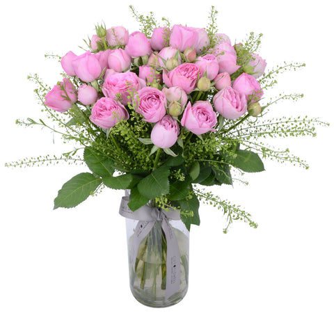 Pink Lace Roses with Vase