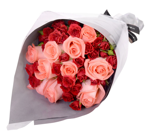Pink Roses & Mini Roses Bouquet for Valentine's Day