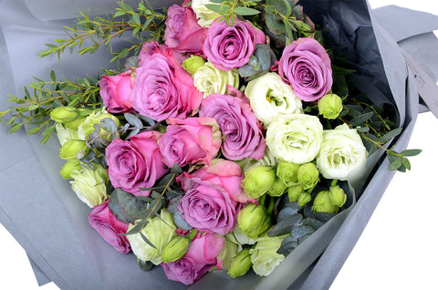 Purple Roses & Eustomas Bouquet