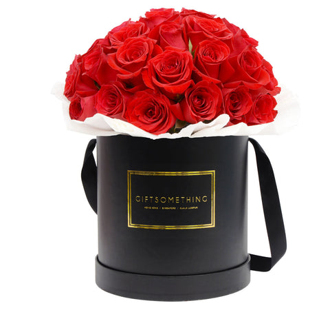 Roses in Round Flower Box - Large