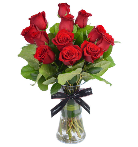 Red Roses with Vase for Valentine's day