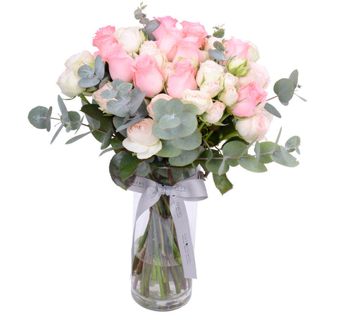 Romantic Pink Roses with Vase
