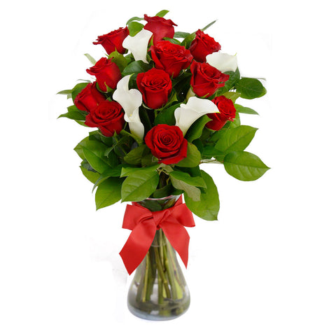 Red Roses & Calla Lily with Vase for Valentine's day