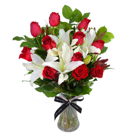 Red Roses & White Lilies in Vase for Valentine's day
