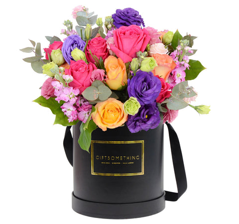 Seasonal Flowers in Round Flower Box for Valentine's Day