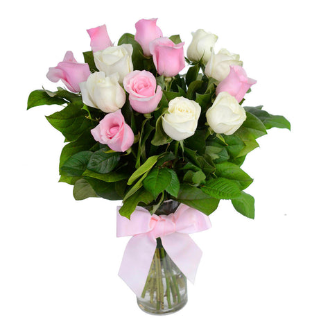 Pink and White Roses with Vase for Valentine's Day