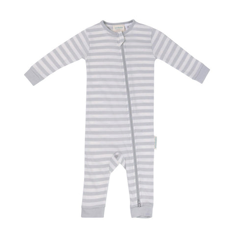 Woolbabe Pebble merino/cotton PJ suit - Size 6-12M