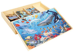 4 OCEAN WOODEN PUZZLE SETS IN BOX