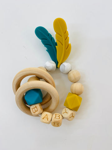 Feather Bamboo Teether and rattle