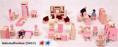 Wooden dolls house furniture 6 rooms