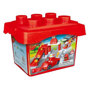 Young Ones Fire Station Set in a  Bucket  - 9638