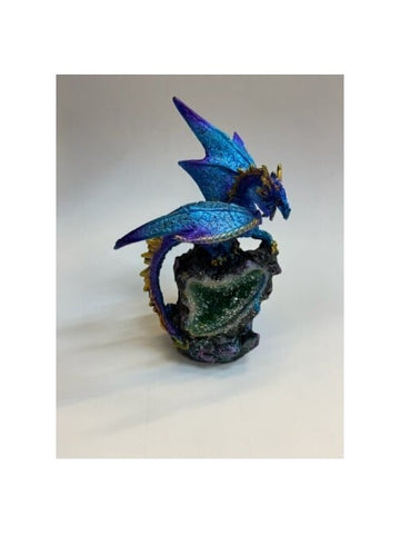 Blue Dragon with LED Crystal Geode