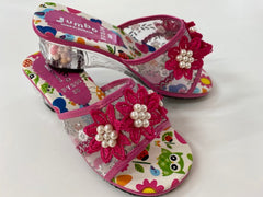 Dress Up Shoes - F7306 Hot Pink Flower Shoes