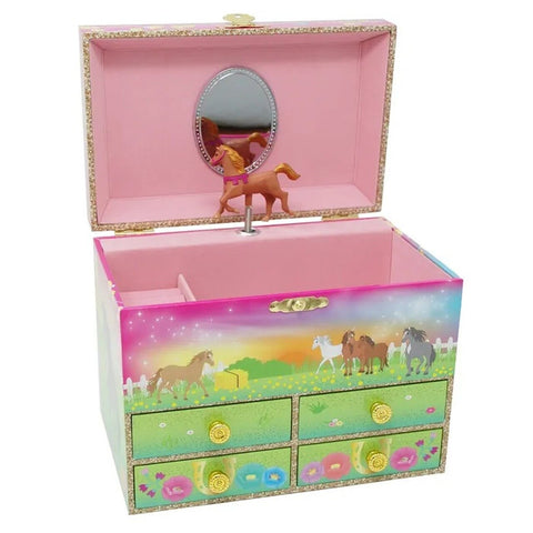 Musical Jewellery box Horse Meadows Pink Poppy
