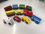 11 piece wooden train set and vehicles