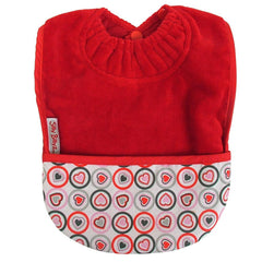 Silly Billyz Towel Pocket Bib Red Heart