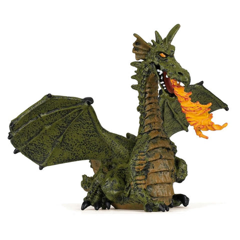 Dragon with Flame figurine Green