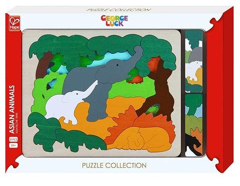 Asian Animals - Wooden Layer Puzzle Hape