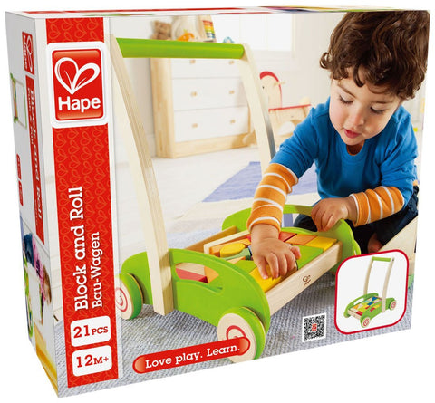 Wooden trolley with blocks - Hape Block and and roll