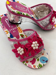 Dress Up Shoes - F7206 hot Pink Flower Shoes